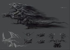 View an image titled 'Darkeater Midir Art' in our Dark Souls III art gallery featuring official character designs, concept art, and promo pictures. High Fantasy, Dark Fantasy Art, Soul Saga, Bloodborne Art, Dark Souls Art, Dark Blood, Cool Dragons, Fantasy Monster, Monster Design