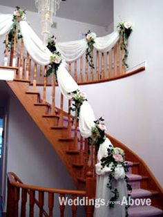 my reception venue features a huge staircasepossibility decoration idea