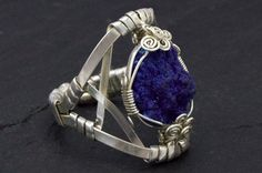Azurite Ring Sterling Silver Ring Wire Wrap Ring by HyppieChic