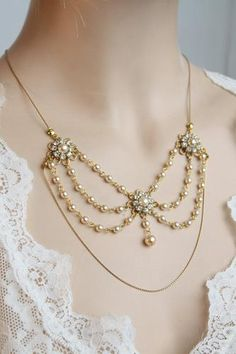 Pearl and rhinestone art deco necklace