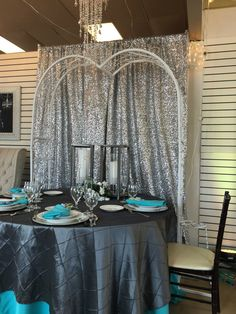 Silver Sequin Backdrop. Contact ABC Rentals Special Events to rent items for your wedding or special event. #HolidayParty #HeadTable #SiouxFallsWedding