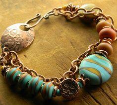 Lampwork & Copper Bracelet by Gloria Ewing