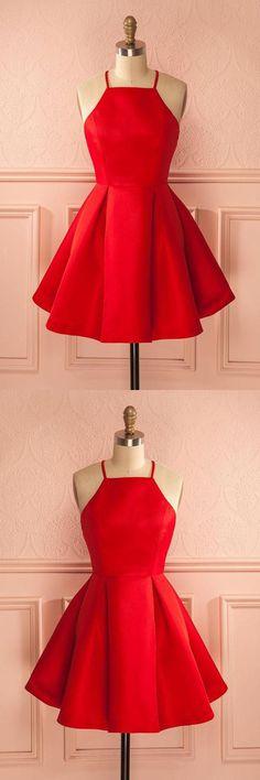 Homecoming Dresses For Girls, Sleeveless Homecoming Dresses, Cheap Prom Dress, Red Homecoming Dresses #HomecomingDressesForGirls #SleevelessHomecomingDresses #CheapPromDress #RedHomecomingDresses, Prom Dresses 2019