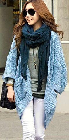 Loose Blue Sweater Shawl