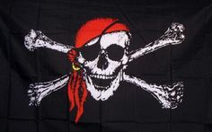 Jolly Roger Red 3'x 5' Pirate Flag