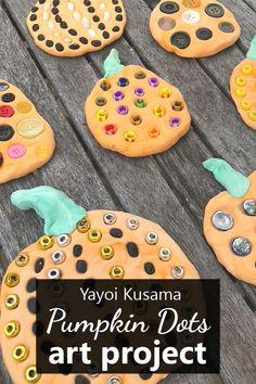 Pumpkin Dots Art Project-Yayoi Kusama Inspired Fall Art Project for Kids. Famous Artist art activities.