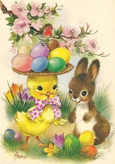 Vintage Greeting Cards – Vintage and antique items Easter Art, Easter Crafts, Easter Bunny, Vintage Greeting Cards, Vintage Postcards, Easter Illustration, Easter Pictures, Diy Ostern, Happy Easter