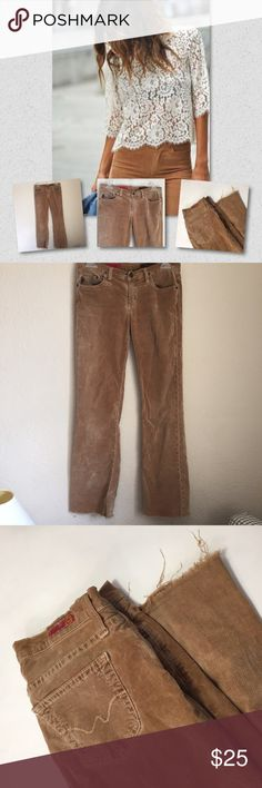 Adriano Goldschmied corduroy pants 👖 Adriano Goldschmied corduroy pants 👖 purchased at Barney's retail $228 but have been worn and loved. Does show signs of wear around waist and the bottom hem has been cut for a fringe BOHO look! AG Adriano Goldschmied Pants