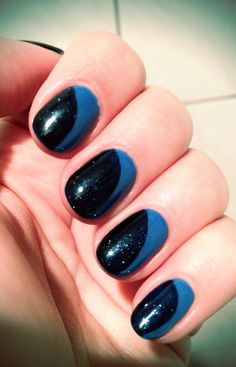 Mani of the week - artistic colour gloss wham with shellac midnight sun 974dec3f730