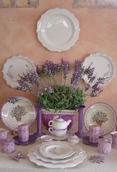 Lavender dishes.