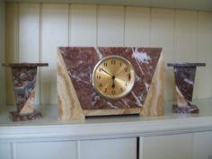 Ucra French Art Deco Marble Clock and Garniture Set | eBay