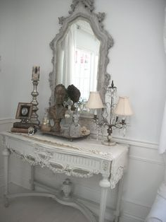 Romantic French Cottage - this is a great display! What an awesome mirror!