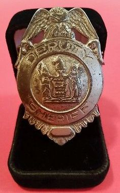 "Antique Deptuty Sheriff Eagle Shield Lawman Stock Badge 2 3/8""Tall x 1 1/2""Acros"
