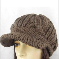 68a55a9c0f5 Free Knit Beanie with Visor Pattern Picture