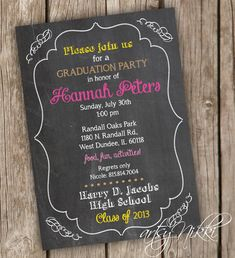 Items similar to Chalkboard Style Bridal Shower Invitation - Script, Wedding Shower Invitation - Chalkboard Style Shower Invitation - Digital Printable File on Etsy Graduation Party Planning, College Graduation Parties, Graduation Party Invitations, Grad Parties, Graduation Ideas, Wedding Shower Invitations, Chalkboard, Invitation Ideas, Invitation Templates