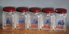 Hazel Atlas glass spice shakers jars set of 5 vintage   Etsy