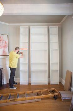 Laura's Living Room: Ikea Billy Bookshelves Hack - The Makerista  MART....FOLLOW ME HERE.... STEP 1