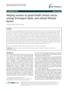 Helping women to good health: breast cancer, omega-3/omega-6 lipids, and related lifestyle factors