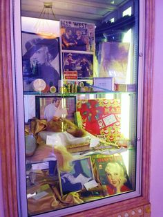 Mae West's personal makeup and other items displayed in the lobby of the museum.