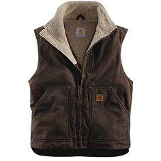 Carhartt Sandstone Mock Neck Vest - Sherpa Lining (For Men) in Dark Brown