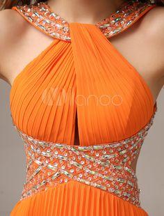 A linha laranja Chiffon drapeado vestido de baile com Halter sem mangas - Milanoo.com