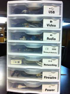 Organize your cords, cables and random electronic odds and ends in to an easy to use organizer.