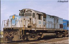 Former L C420 #29 has been patched as Delaware & Hudson #401 as it sits at SK Yard in Buffalo, New York on August 18, 1984.