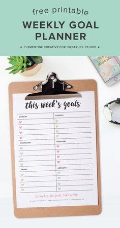 Free Printable Weekly Goals Planner Page