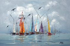 regatta III Sailboat Art, Sailboat Painting, Sailboats, Arte Obscura, Am Meer, Gouache Painting, Watercolor Landscape, Art Oil, Painting Inspiration
