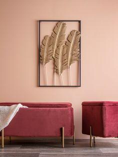 Abstraktní stylová dekorace na zeď - peří. Velikost: 89 x 53 x 1,5 cm.