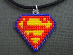 Handmade Seed Bead Pixelated Superman Symbol Necklace by Pixelosis, $15.00