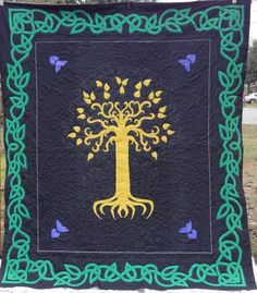 Lord of the Rings inspired quilt, celtic applique border, at tomiquilts