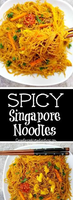Singapur Hühnernudeln - Recipes to Try - Noodles Rice Noodle Recipes, Asian Noodle Recipes, Spicy Recipes, Asian Recipes, Vegetarian Recipes, Chicken Recipes, Cooking Recipes, Healthy Recipes, Ethnic Recipes