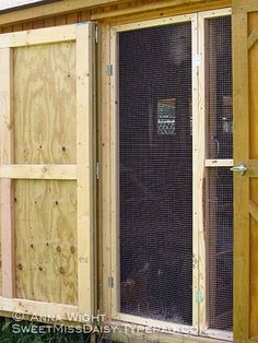 "INCORPORATE INTO COOP DESIGN-----screen door for summer & another for winter. This door would be good for ""a coop within the coop"" to isolate birds-enough room for at least 2 broody hens. The rest of the time it can be used for storage.-use strongest screening/hardware cloth available!"