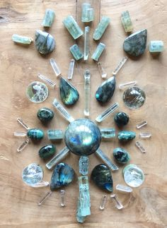 Labradorite, Aquamarine, Emerald, Chrysoprase and Quartz Crystal Grid by Woodlights Woudlicht