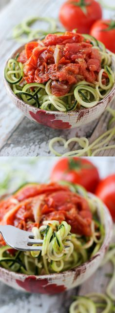 Spiralized Zucchini Noodles with a Simple Roasted Tomato Sauce. An easy, quick Meatless Monday supper that's gluten-free and vegan l Steph in Thyme