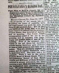 """""""Pennsylvania's Hanging Day"""", the hanging of The Molly Maguires, BETHLEHEM DAILY TIMES, Pennsylvania, June 21, 1877."""