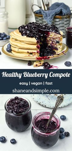 Healthy vegan Blueberry Compote for pancakes, waffles, fruit, or your favorite frozen dessert. All you need are 4 ingredients and less than 20 minutes to make this amazing blueberry sauce recipe. Delicious Vegan Recipes, Healthy Breakfast Recipes, Healthy Desserts, Brunch Recipes, Dessert Recipes, Vegan Sweets, Fruit Recipes, Sauce Recipes, Summer Recipes