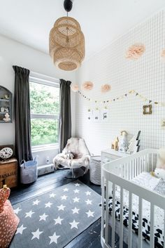 A black and white neutral palette nursery inspiration in our customer's home.