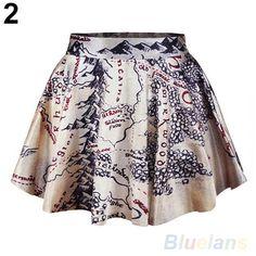 Womens-Attractive-High-Waist-Pleated-Galaxy-Mural-Short-Mini-Skirt-Flared-Dress