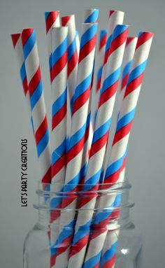 75 RED WHITE and BLUE Stripe Retro Style by FromMe2YouCreations, $12.00