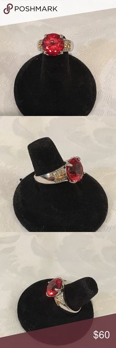 PADPARADSCHA SAPPHIRE, CITRINE & WHITE TOPAZ RING Size 7   LAB CREATED PADPARADSCHA SAPPHIRE 7.40CT,CITRINE .16CTW AND WHITE TOPAZ .32CTW STERLING SILVER RING Jewelry Rings