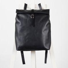Black leather backpack rolltop rucksack / To order