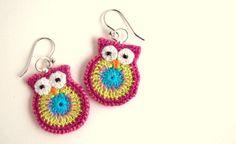 Aretes de buho limoncillo rosa y turquesa crochet aretes de