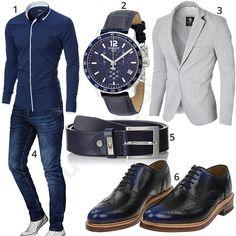 Dunkelblaues Business-Outfit mit Jeans, Hemd und Sakko (m1002)