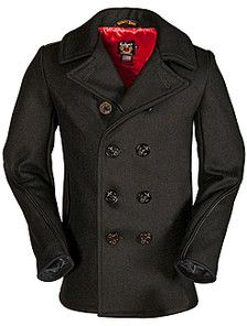 Classic Wool Naval Pea Coat with Leather Trim. I have the genuine article from my father's time in the Navy during Vietnam but I like this updated version as well.