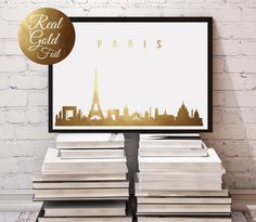 Paris Skyline, Real Gold Foil, Paris Gold Foil, Gold Print, Illustration Art Print, Wall Decor, Wall Art, Office Decor, Paris France Art. Every poster is designed with love by us. We make it beautiful by adding shining gold or silver foil finish handmade to our prints.