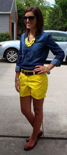 yellow shorts look