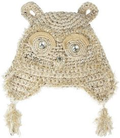 Anna Sui Embellished crochet-knit owl hat on shopstyle.com