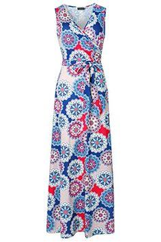 Zattcas Womens Bohemian Printed Wrap Bodice Sleeveless Crossover Maxi Dress (Medium, Multi Navy) - http://todays-shopping.xyz/2016/08/23/zattcas-womens-bohemian-printed-wrap-bodice-sleeveless-crossover-maxi-dress-medium-multi-navy/